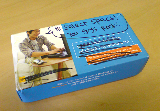 A box sent to us by a customer who wrote a caption for the guy using a laptop on the box