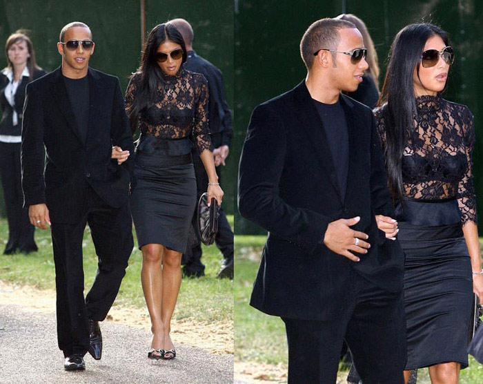 Lewis Hamilton and Nicole Scherzinger wearing Sunglasses
