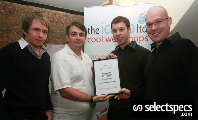 Alan Noake (in white) from The ICELAB Ltd. awarding James, Chris and Jason from SelectSpecs