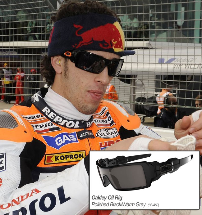 dovizioso wears oakley oil rig