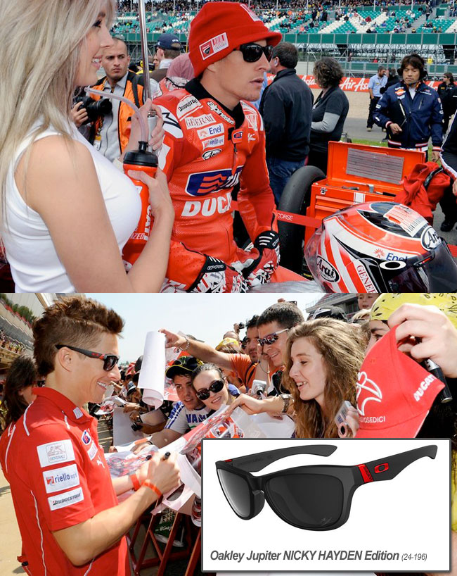 niceky hayden wears oakley jupiter nicky hayden edition