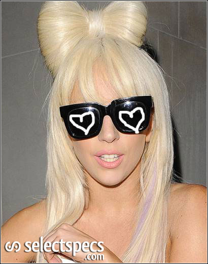 Lady Gaga adding her own identity to her sunglasses