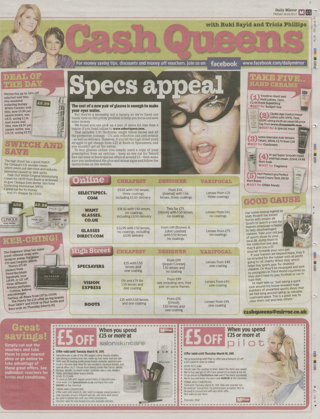 Daily Mirror Cash Queens 4 March 2011