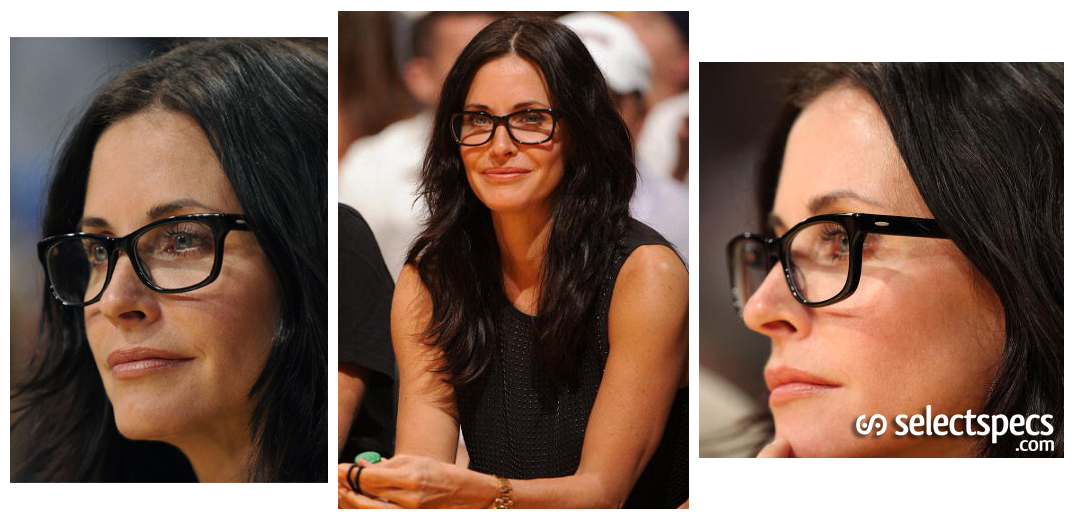 ray ban sunglasses vs. oakley  courtney cox wearing ray ban optical glasses