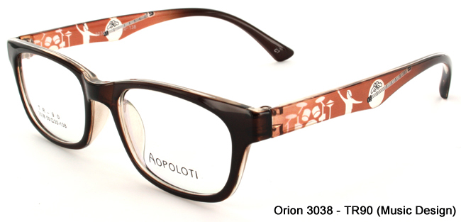 Orion 3038 Wayfarer Style frame in lightweight TR-90 Plastic with Music Design