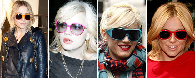Colorful Sunglasses worn by various celebrities