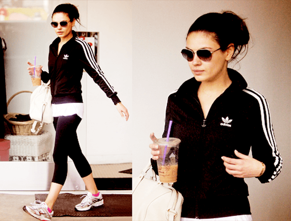 Mila Kunis leaving the gym in Aviator Sunglasses