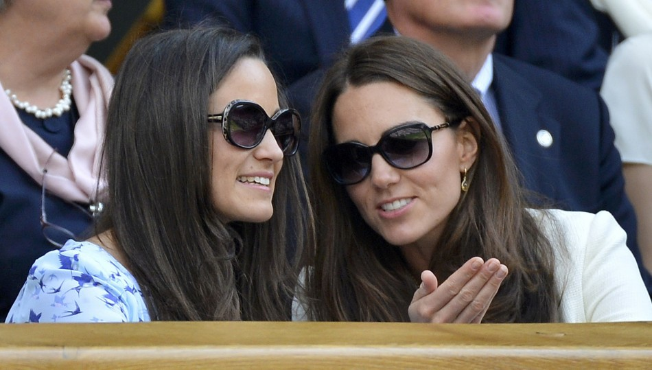 Catherine Duchess of Cambridge with sister Pippa Middleton wearing Givenchy Sunglasses at Wimbledon Men's Final