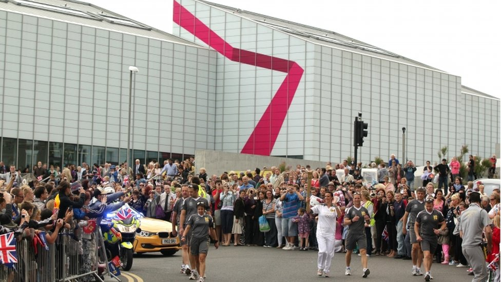 Karen Pickering Leaves The Turner Contemporary in Margate with Olympic Flame
