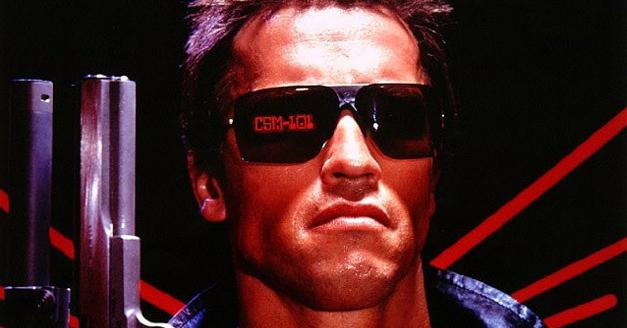 Arnie in The Terminator wearing Sunglasses