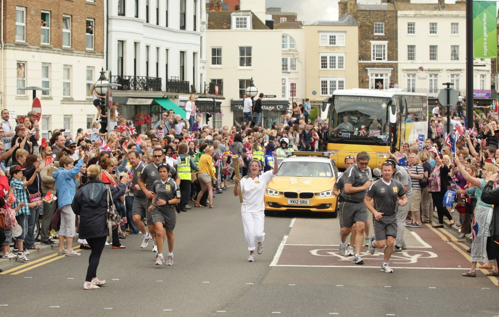 Day 62 - The Olympic Torch in Margate, carried by local artist Tracey Emin