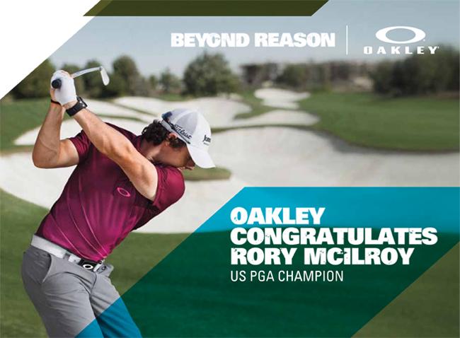 Rory McIlroy US PGA Champion Wearing Oakley