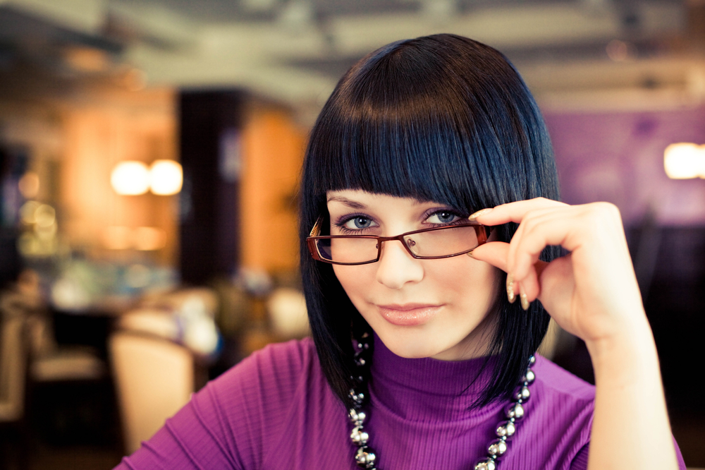 Woman Looking Very Sexy Wearing Glasses