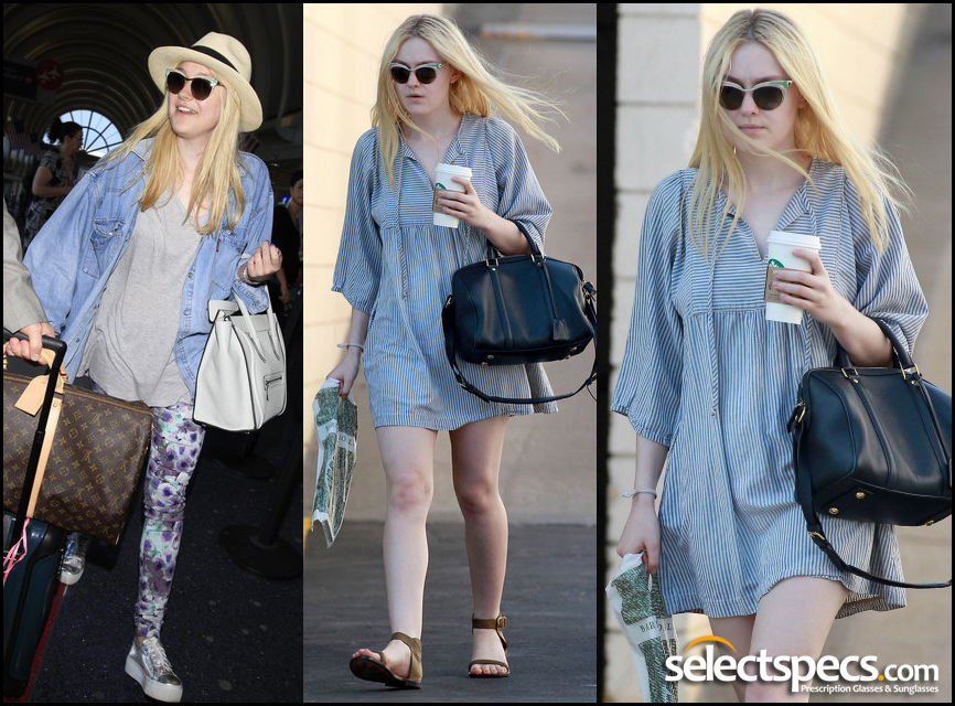 Twilight Star Dakota Fanning Wears Prada PR61OS Sunglasses with any outfit - As worn by Katy Perry - Available from SelectSpecs.com
