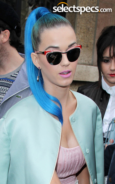Fashion Queen Katy Perry in Prada PR61OS Sunglasses during Paris Fashion Week