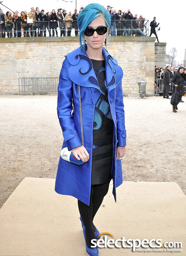 Katy Perry - Blue Hair Audrey Hepburn Style Sunglasses - SelectSpecs.com