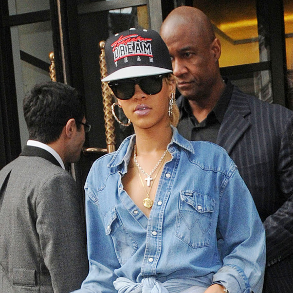 Rihanna in Ray-Ban Wayfarer Sunglasses at London Fashion Week
