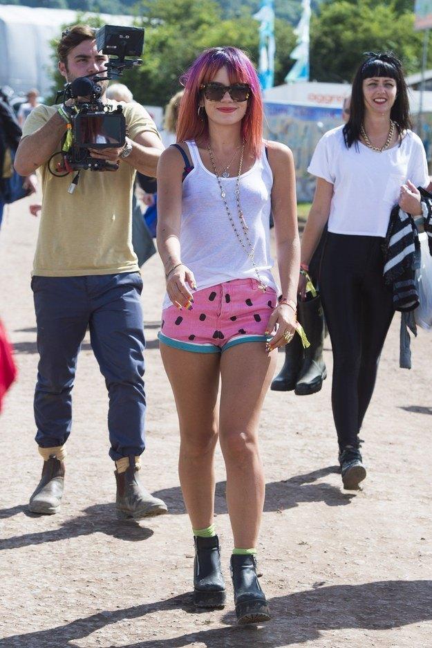 Lily Allen in festival sunglasses