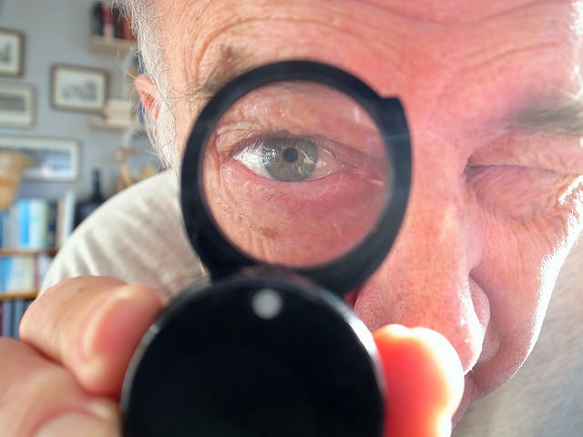magnified eyes