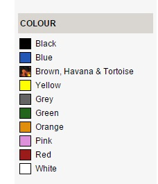 Selectspecs colour search for sunglasses or glasses