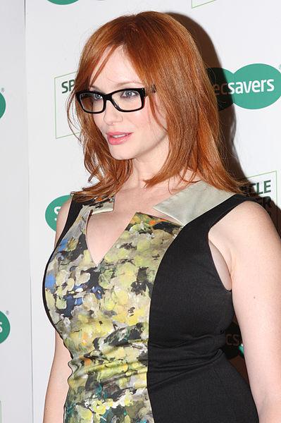 Christina Hendricks ectangular framed glasses