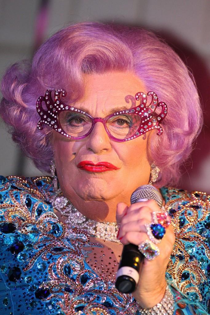 Dame Edna cat eye glasses