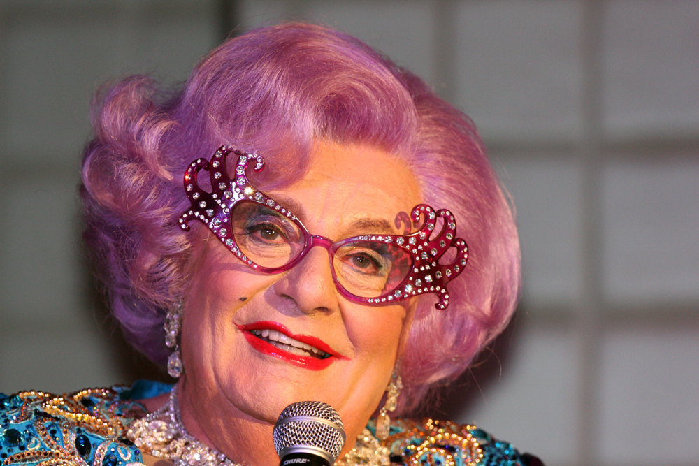 The history of cat eye glasses- Dame Edna