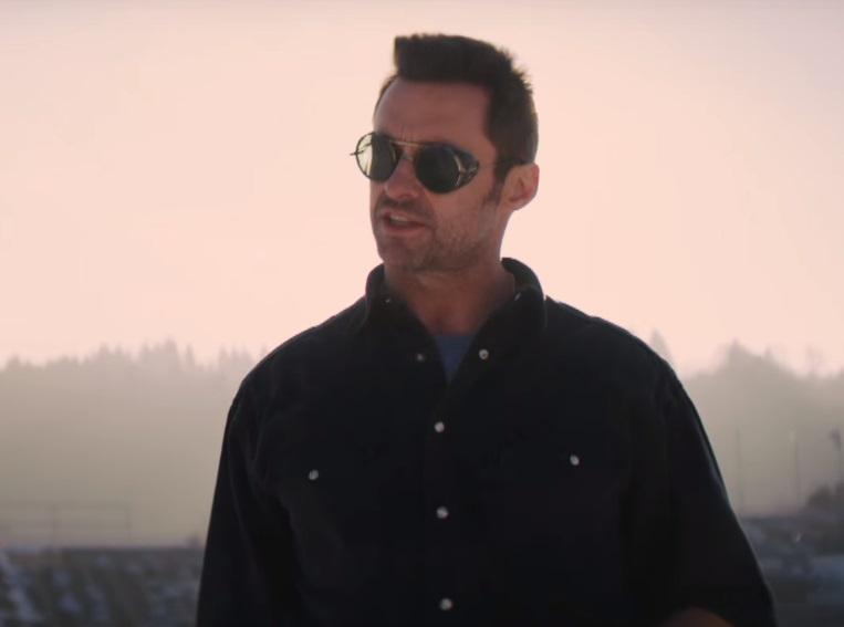 Hugh Jackman side shield sunglasses in Eddie the Eagle film