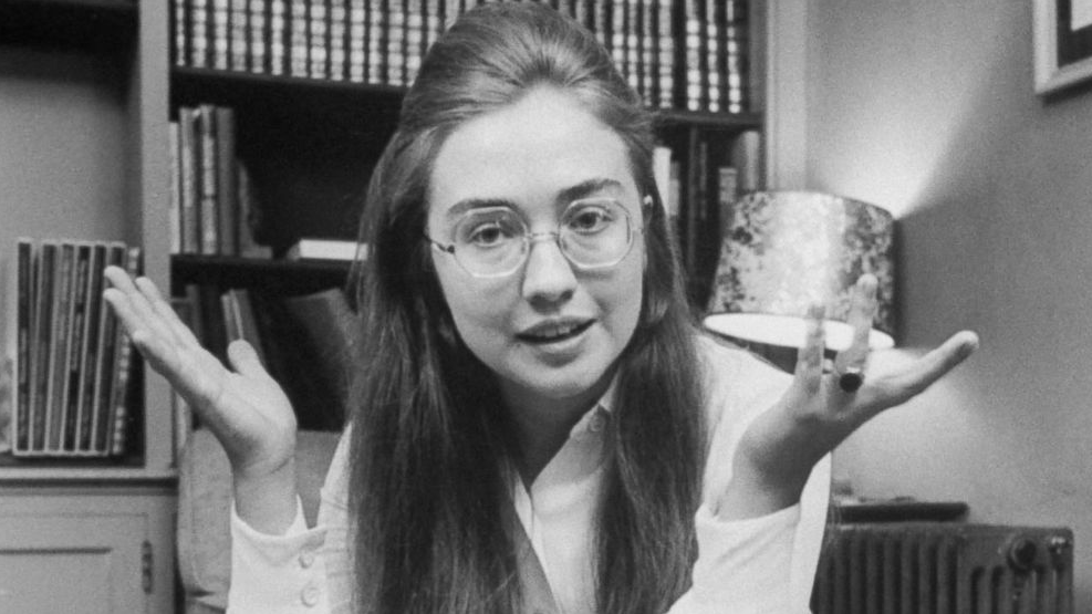 Hillary Clinton young with glasses
