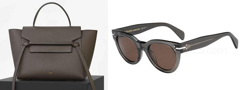celine grey handbag and sunglasses
