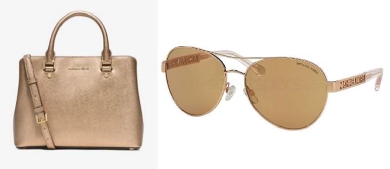 gold michael kors handbag glasses