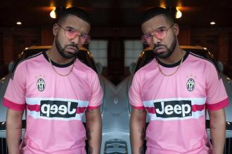 Drake wears pink sunglasses