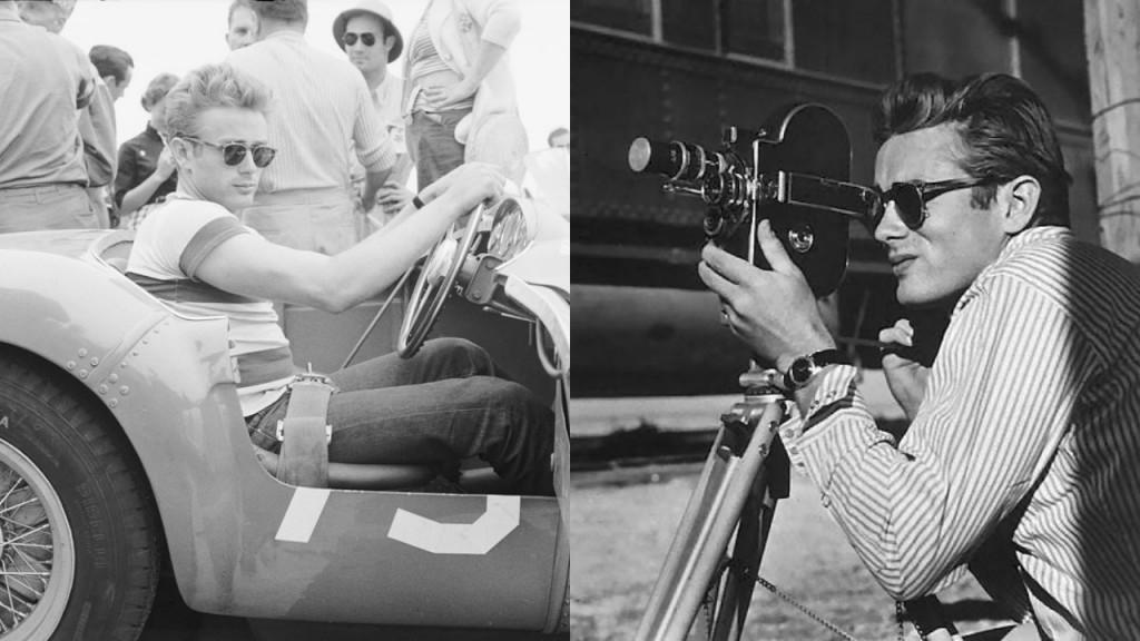 Legend James Dean wearing sunglasses.