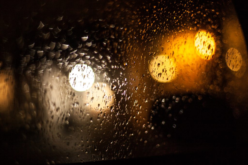 Wet rain glass