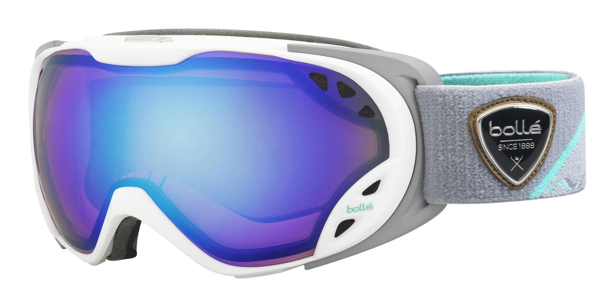 bolle duchess ski goggles in white grey and blue