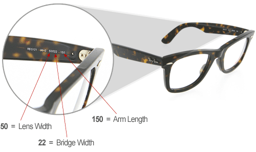 Understanding Glasses Frame Measurements : Ray ban wayfarer sizes chart My-Rome...